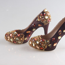 Handmade prune plum color satin dress shoes with sewed crystals and beading for mother of bride or any party prom cocktail pumps