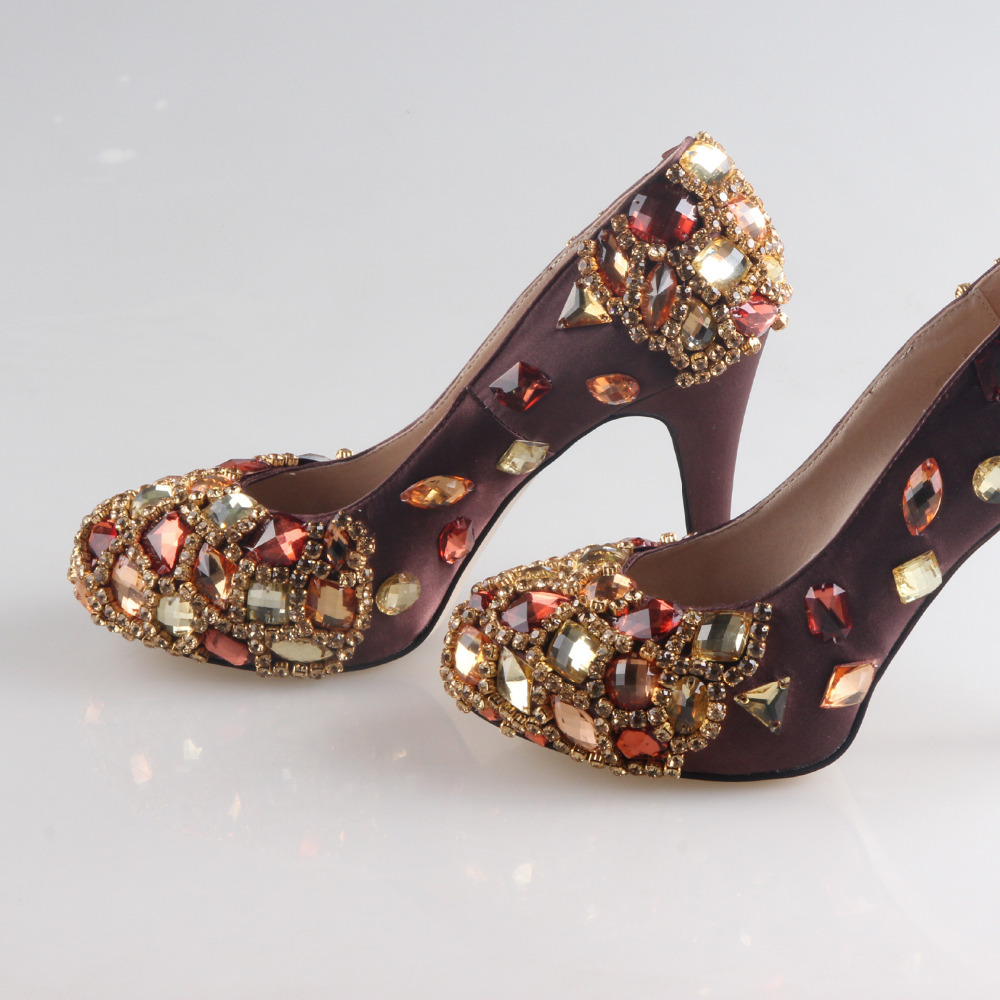 Handmade prune plum color satin dress shoes with sewed crystals and beading for mother of bride or any party prom cocktail pumps платье для матери невесты mother of the bride dress 3 4 zy094 lzy094