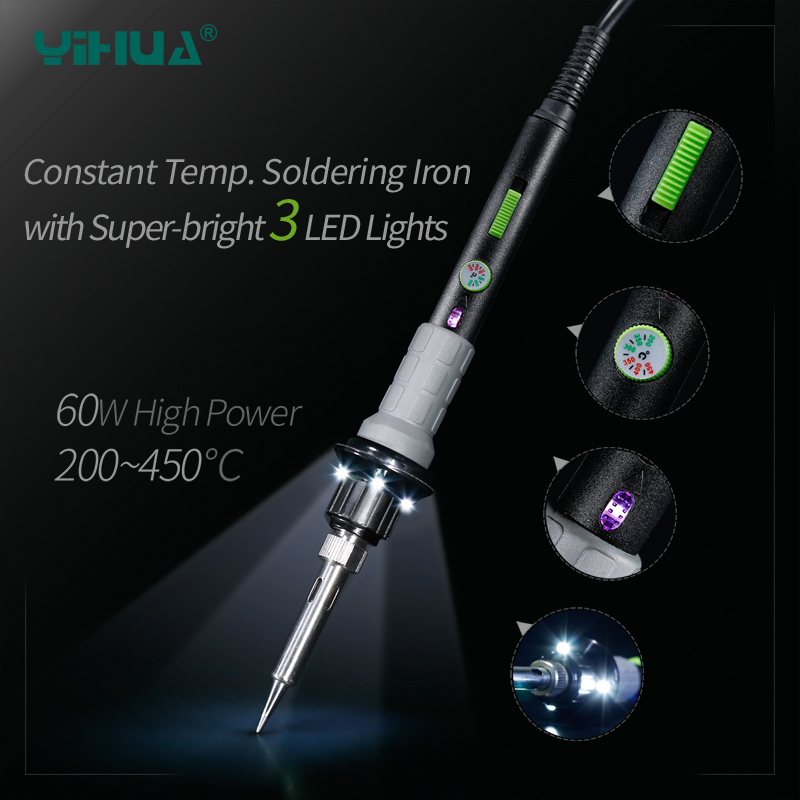 YIHUA947-V Lead Free Solder Electric Soldering Iron With Working Light For DIY Temperature Repair Welding Iron Tools