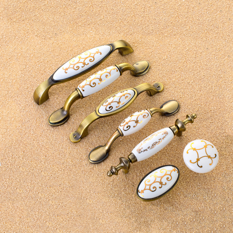 Ceramic Vintage Metal Door Handles Bronze Kitchen Shoe Cabinet Cupboard Drawer Wardrobe Pulls Knobs Handle Home Furniture home metal crown design head cabinet window wardrobe door hinge bronze tone 87 x 39mm 4pcs