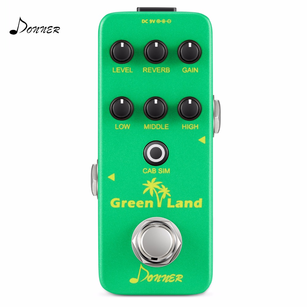 Donner Effect Pedal Green Land Mini Electric Guitar Preamp Guitar Accessories
