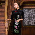 TIC-TEC chinese cheongsam short qipao velet vintage black embroidery women tradicional oriental dresses weeding clothes P3049