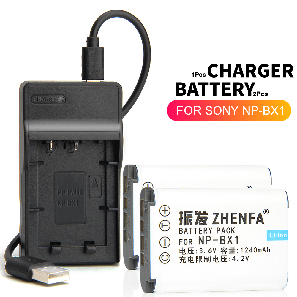 2pc NP-BX1 <font><b>Battery</b></font> + Charger For <font><b>sony</b></font> DSC-WX300 WX350 WX500 RX1 RX100 M3 M2 HX300 HX400 HX50 HX60 GWP88 <font><b>HDR</b></font>-AS15 MV1 AS30V <font><b>AS300</b></font> image