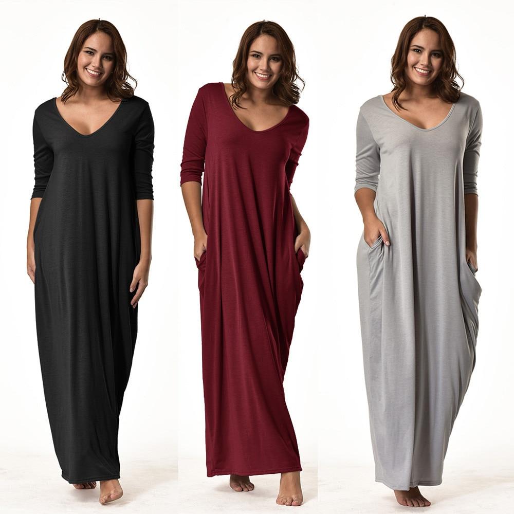 2017 Fashion Women Plus Size Dress 3/4 Sleeve V Neck ...