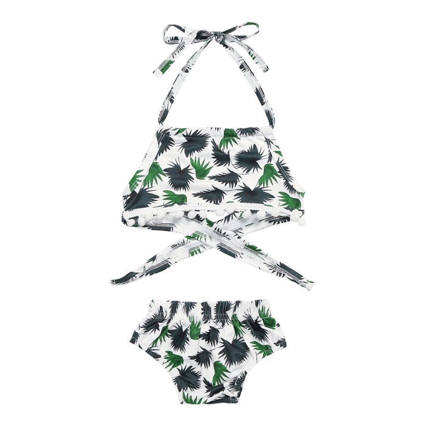 shaunyging # 4006 2018 NEW Fashion Toddler Girls Printed Tassel Swimwear Bathing Bikini Briefs Set Outfits Swimsuit