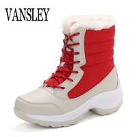 2017 New Women Winter Waterproof Boots Warm Fashion Winter Woman Shoes Autumn Female Thick Lace Up