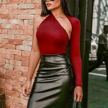 купить 2018 Asymmetric Cutout Neck Sexy Bodysuit Solid Mid Waist Skinny Women Clothes Stretchy Casual Plain Bodysuit дешево