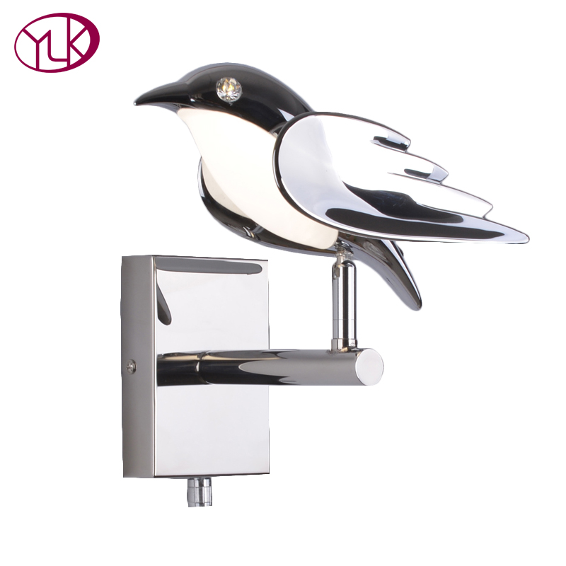 Youlaike Modern Wall Lamp For Bedside Bird New Design Silver LED Wall Sconce Light Fixtures настенный светильник leds c4 wall fixtures 05 0836 14 55