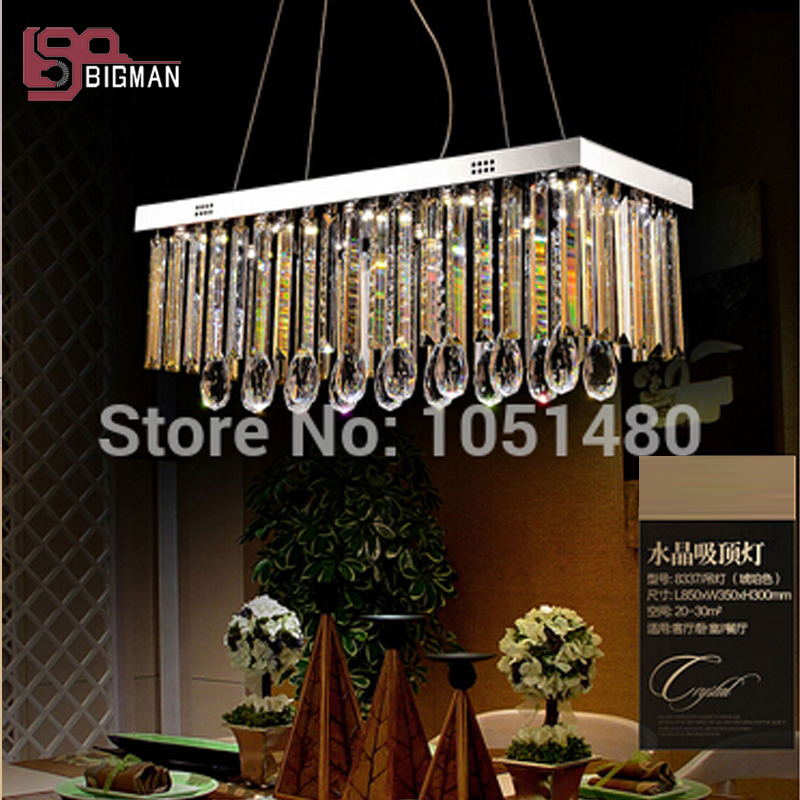 Free shippinng new modern crystal chandelier for dining room, lustres rectangular crystal lamp