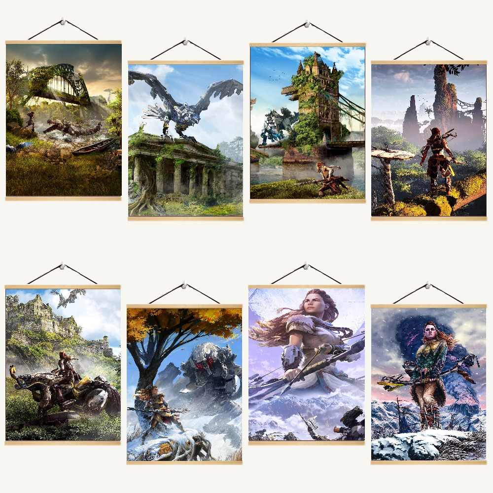 Game Horizon Zero Dawn HD Poster On Canvas Printed Modern Wall Decorative Unique Gift Solid Wood Hanging Scroll Painting