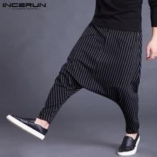 INCERUN Autumn Mens Harem Pants Elastic Waist Stripe Pockets Casual Loose Drop Crotch Trousers Men Streetwear Hip-hop Pants