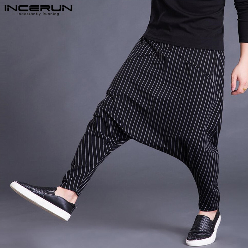 INCERUN 2020 Autumn Mens Harem Pants Elastic Waist Stripe Pockets Casual Loose Drop Crotch Trousers Men Streetwear Hip-hop Pants