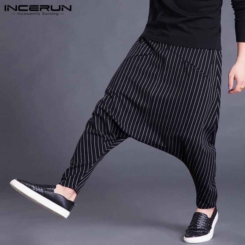 INCERUN 2020 Autumn Mens Harem Pants Elastic Waist Stripe Pockets Casual Loose Drop Crotch Trousers Men Streetwear Hip-hop Pants