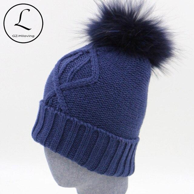 Зимние Шапки Женщины 2016 Мода Темно-Синий Теплый Вязать Шляпу Мужчины шапочка Cap Съемный Реального Енота Помпоном Gorros Ланы Mujer 16523A2