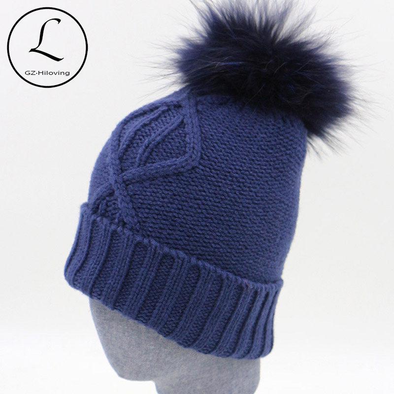 Winter Hats Women 2017 Fashion Navy Blue Warm Knit Hat Men Beanie Cap Removable Real Raccoon Pompom Gorros De Lana Mujer 16523A2 winter women beanie curl all match crochet knitted hiphop hats warm ski hat baggy cap femme en laine homme gorros de lana 62