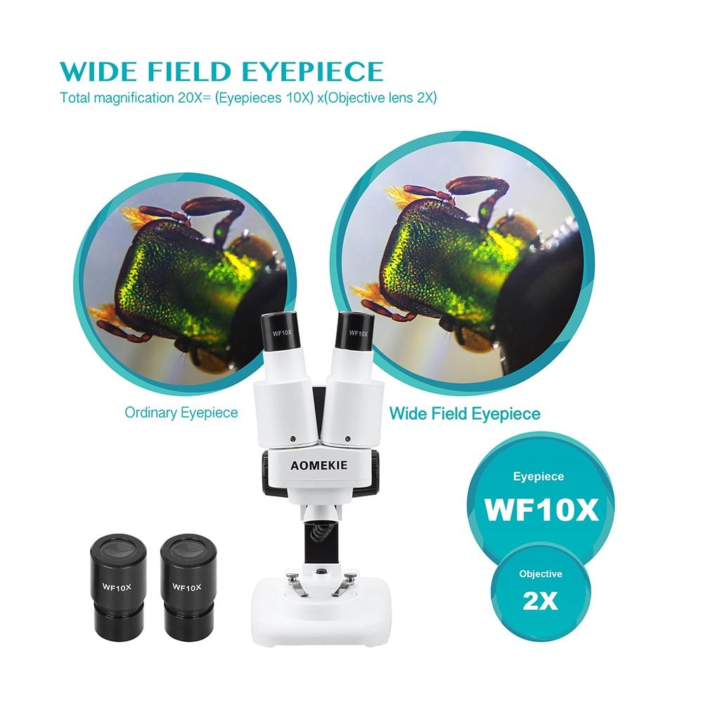 Microscopio stereo AOMEKIE 20X binoculare con LED per strumento di - Strumenti di misura - Fotografia 3