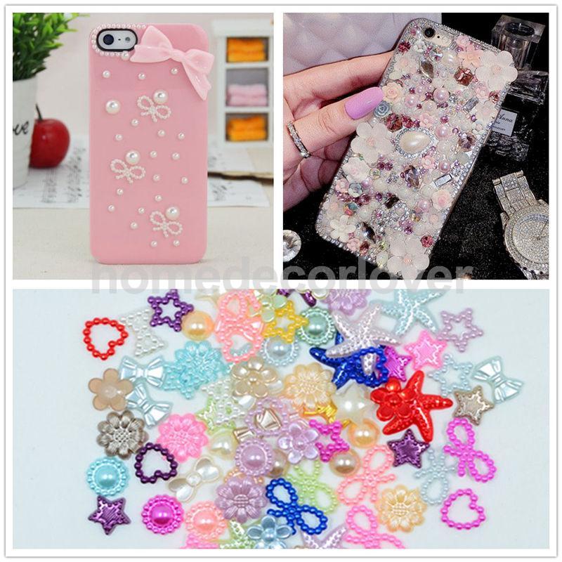 75x Multicolor Flatback Pearl Scapbooking Embellishment for DIY Phone Case