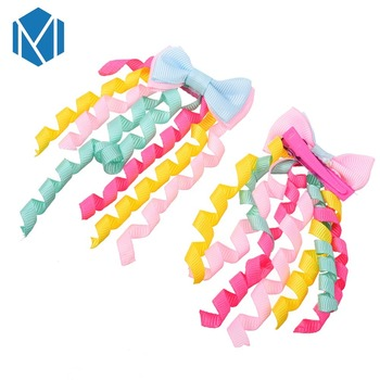 M MISM 1 Pair Cute Random Girls Hair Clips Bow Ponytail Holder Rubber Colorful Ribbon Roll Elastic Hair Bands Kids Gum For Hair