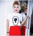 Новый 2016 Женщины Kawaii футболка feminino Harajuku Повседневная Женщины Печатные Майки Топы Camisetas Mujer