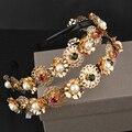 Baroque luxury brand design vintage bright gold flower pearl gem headband for women headwear bridal accessories runway jewelry