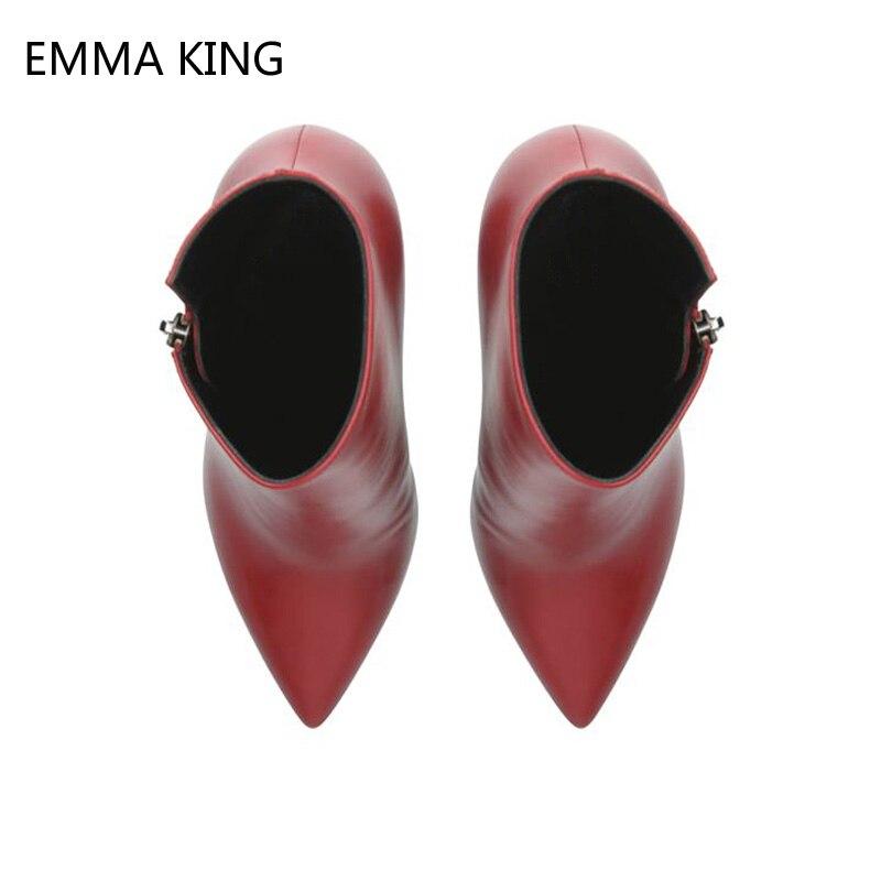 Модные красные женские ботильоны «Челси»; Теплые Ботинки Martin на высоком каблуке; женские туфли лодочки для вечеринки и свадьбы; классически... - 2