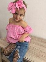 Coelho AiLe 2017 Fashion Girls Tops Terno + Calça Jeans + Headband 3 Peças A Palavra Colarinho Strapless Conjunto Infantil Rosa Bowknot Buraco Denim