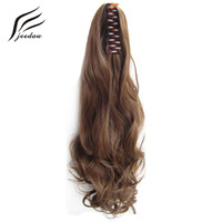Jeedou Claw Ponytail Wavy Synthetic Hair 22 55cm 170g Blonde Chestnut Brown Color Natural Ponytails Hair