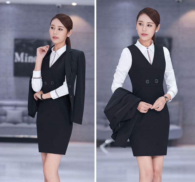Long Sleeve Business Suits Beauty Salon Ladies Office Dress Outfits Plus  Size Elegant Black Pantsuits Skirt Suits Formal Styles-in Pant Suits from  Women s ... 4c202fa3654a