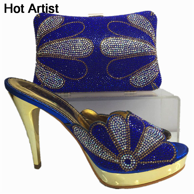 Hot Artist Fashion Rhinestone High Heels Shoes And Purse Set Africa Style Ladies Pumps Shoes And Bag Set For Party Dress BL565C