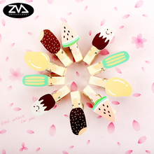 10pcs/bag Fruit ice cream wooden clip Wood Clips cute stationery party Decoration Photo Paper Craft Diy Clips With Hemp Rope 10pcs lot creative original eco home decoration wooden clip photo paper craft clips party decoration clips