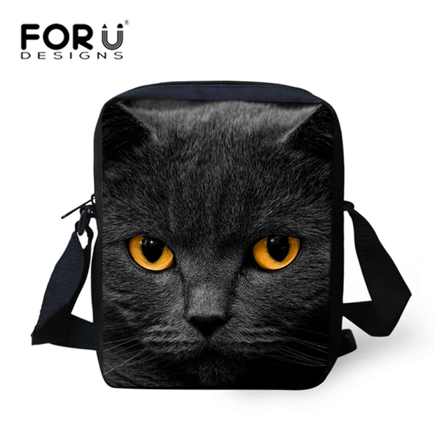 850a250ef581 US $7.99 20% OFF|FORUDESIGNS Black Cat Women Messenger Bags Girls Crossbody  Bags Ladies Small Shoulder Bag Female Cross Body Bag Bolsos Mujer New-in ...