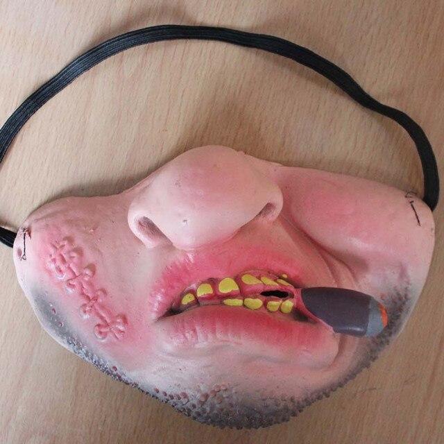 Funny Clown Mask Halloween Scary Masks  Half Face Horrible Mascara Masquerade Party Horror Masque Latex Realistic Silicone Maska 4