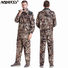 Men Outdoor Reed Bionic Camouflage Fishing Suit Breathable Shooting Hunting Camo Suit Fleece Waterproof Camo Hunting Jacket Pant(China)