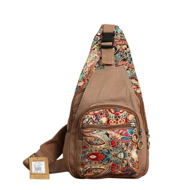 2018 Boho Style Canvas Crossbody Bag For Women Female Vintage Girls Chest Pack Shoulder Bags Retro Colorful Flowers Bags Sac