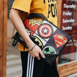 Rebites masculinos quentes bolsa crânio embreagem envelope saco dos desenhos animados impressão saco de embreagem rua moda lazer bolsa de ombro frete grátis
