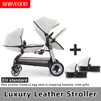 Eggshell high end twin high landscape second child baby twin stroller double folding front and rear reclining sit baby stroller