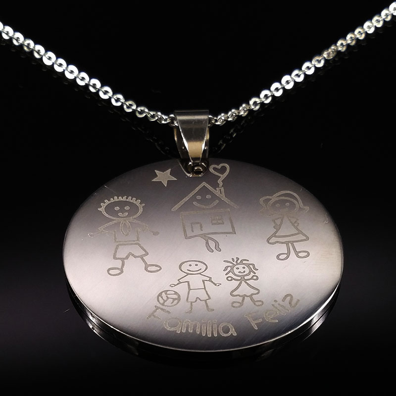 2017 Mama Son Silver Color Stainless Steel Necklaces for Women Kid Family Statement Neck ...