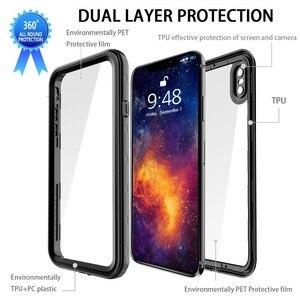 Image 4 - Coque étanche pour iPhone XR X XS Max 6 6S 7 8 Plus 360 coque arrière robuste et transparente avec Film de protection décran