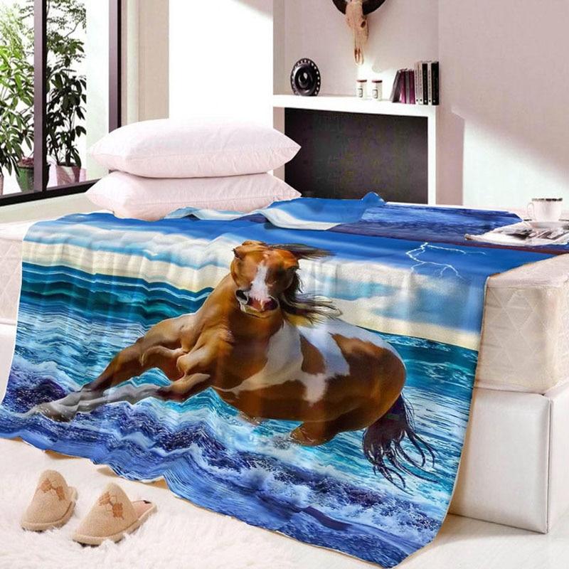 3d Digital Print Running Strong Horse Wild Animals Flannel Autumn Winter Home Hotel Bed Sofa Chair Warm Blanket Bedding