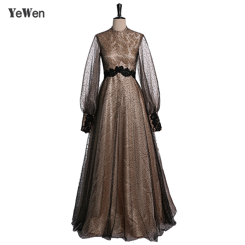 fcf7b0f2ad Muslim 2019 Points Black Champagne Evening Dresses Long Sleeve Lace Prom  Dress Formal Gowns Elegant ...