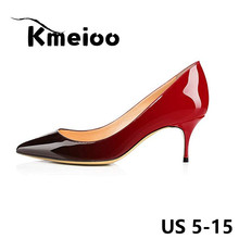 Kmeioo Brand US Size 5-15 Women Pumps 2018 Spring Pointed Toe Patent 6.5CM Stilettos Kitten Heels Gradient Bride Wedding Shoes