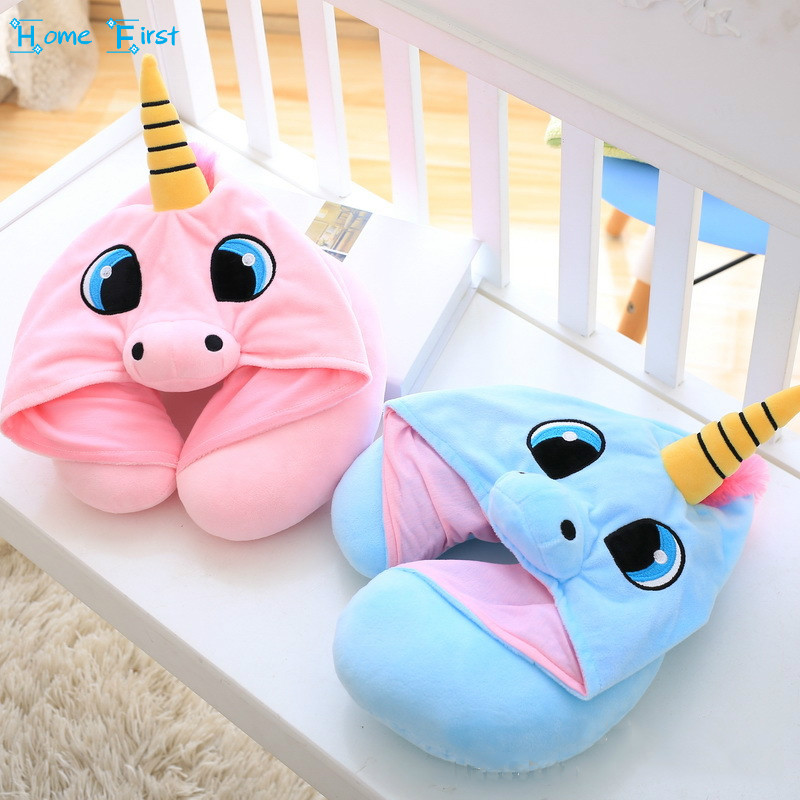 Creative Cartoon Unicorn Stuffed Plush Animal Cushion Travel Pillow Car Airplane Soft Nursing Cushion with Hat Plush Toys image