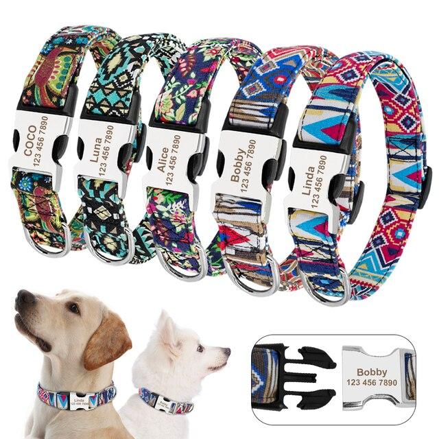 Coleira de cachorro personalizada de náilon, tag de cachorro personalizada de nylon, ajustável, gravada, placa com nome para cão e gato, para cães pequenos e grandes