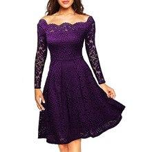 2018 Вышивка цветочный Slash Средства ухода за кожей шеи платье Для женщин Тонкий Элегантный Длинные рукава женщин выдалбливают сексуальные Кружево платье для дам