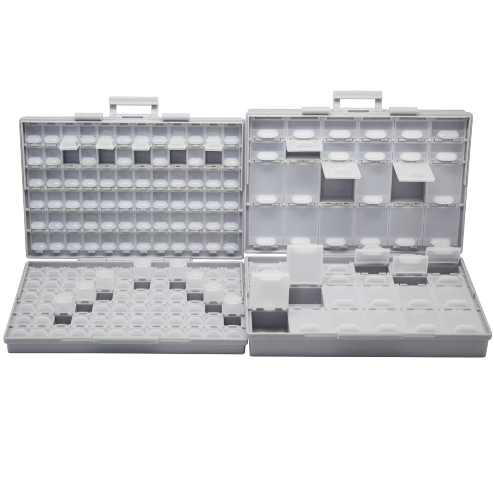 AideTek SMT Empty Box Enclosure Compartments each w/lid SMD BOXALL144+BOXALL48 aidetek 2 box esd safe smd ic box w 144 bins anti statics smd smt organizer transistor diode plastic part box lable 2boxallas