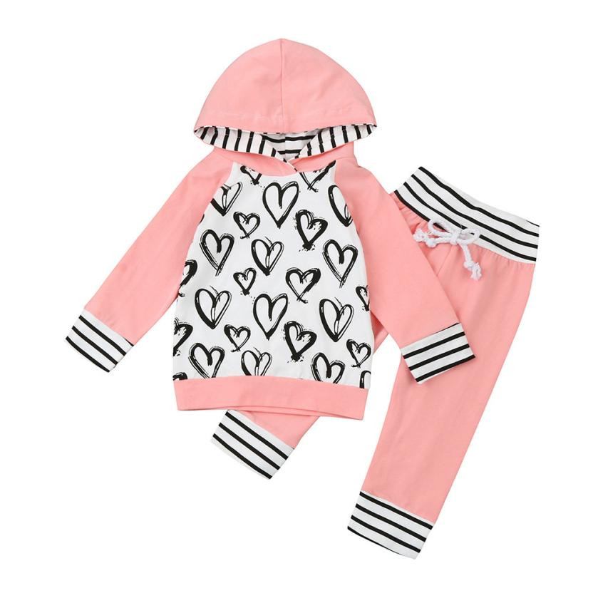 Baby Grils Suits Clothes 2017 AutumnToddler Infant Baby Girls Heart Print Clothes Set Hooded Tops+Pants Outfits Ropa Bebes Suit