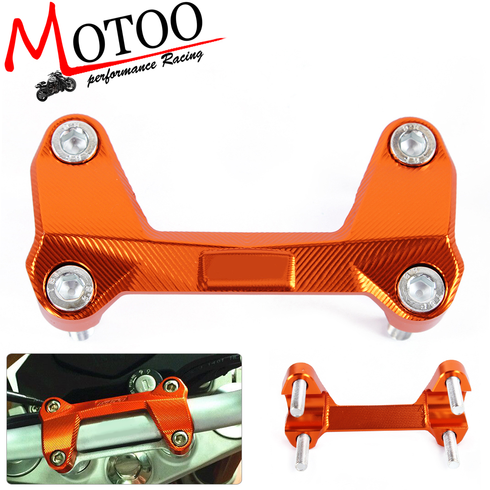 Motoo - Orange Motorcycle CNC Aluminum Handlebar Risers Top Cover Clamp Fit For KTM DUKE 390 200 125 motorcycle cnc balance bar for ktm 125 duke 200 duke 390 handle rebar handlebar modification parts accessories balance bar