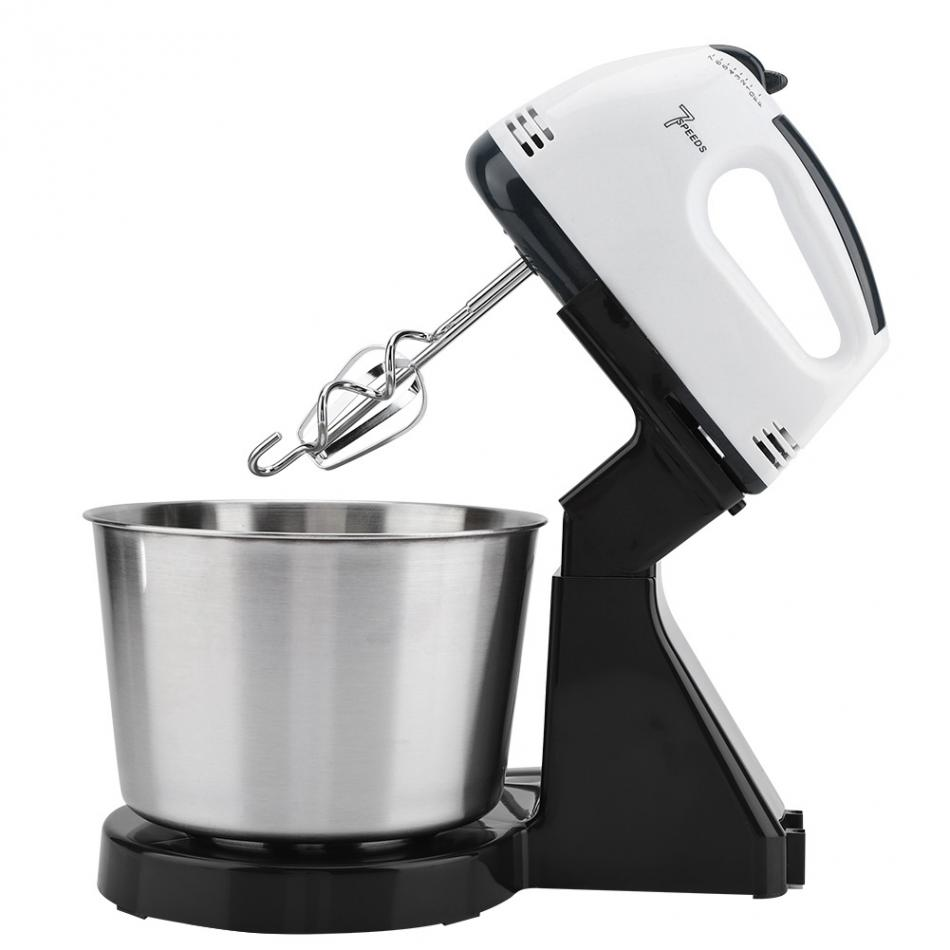 230v 7 Speed Automatic Whisk Hand Food Mixer Electric Stand Mixers Handheld Flour Bread Egg Beater Blenders with Bowl EU Plug