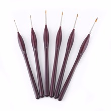 6pcs Professional Wooden Handle Artist Detail Paint Brushes Outline Painting Set For Craft Tool