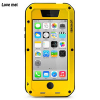LOVE MEI Waterproof Case for iPhone 5c Strongest Metal Armor Protector with Gorilla Temepred Glass Screen Protecor